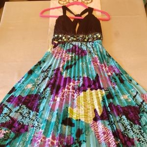 Full length colorful formal dress size S